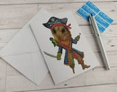 Pirate Hamster Card Funny Birthday Card Greetings Cards Dressed Up Hamster Pirate Stationery Humour Cute Pet Funny Animal