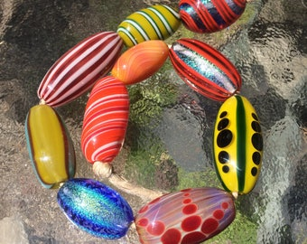 Handblown Glass Dichroic and Color Beads - Wholesale - Variety 10 pack