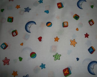 Moon, stars and blocks on white  cotton   Toddler pillowcase