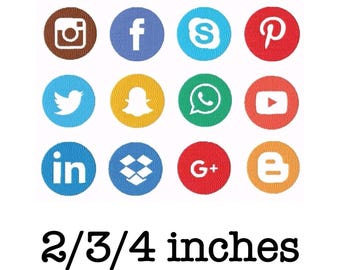 Social media icons pack machine embroidery design 2/3/4 inch instant download