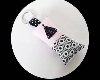Key fob fabrics pink TEEPEE patterns and grey and black hexagons