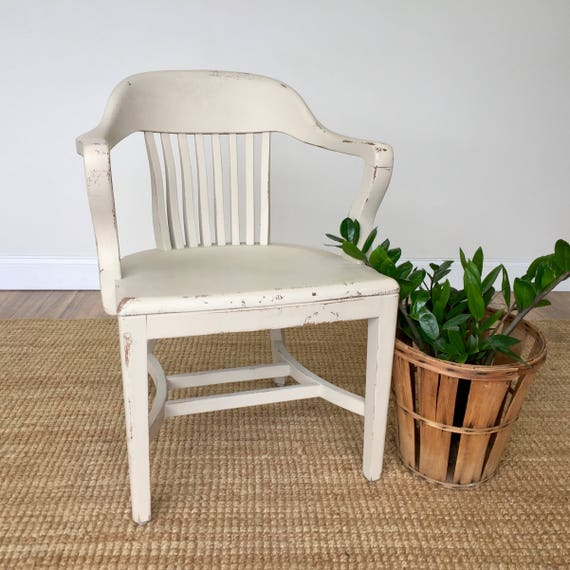White Wooden Chair - Vintage Furniture - Library Chair - Home Office Furniture - Antique Accent Chair - Distressed Painted Furniture