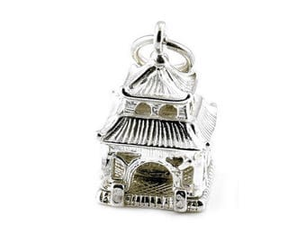 Sterling Silver Opening Buddha In Pagoda Charm For Bracelets