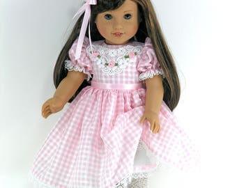 Handmade Doll Clothes for American Girl - Dress, Pantalettes, Hair Ribbon - Pink Check Taffeta