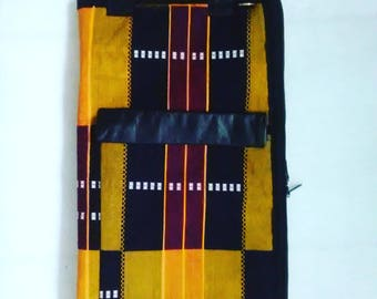 Stick Bag...Kente with Leather Accents