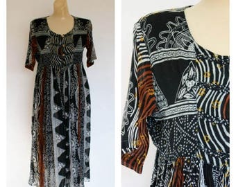 Sale Vintage Festival Dress / 1980s Festival Dress / Tribal Gauze Dress / Baby Doll Midi Dress / Vintage India Dress