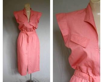Sale 1970's Foxy Lady Melon Dress / Vintage 70s Fancy Frock / Deep V Pocket Day Dress / 70s Peachy Shirt Dress S/M