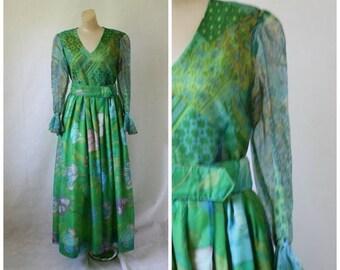 Sale 1970's Mod Cocktail Maxi Dress / Vintage Green Floral Dress / Vtg 70s Coctktail Gown / Vintage Chiffon Maxi Dress / Vtg 70s Formal Dres