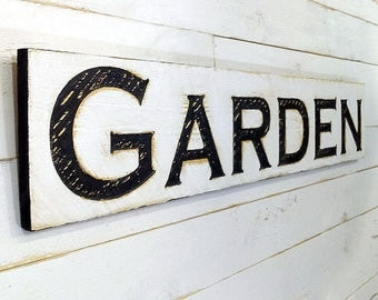 """Garden Large Sign 40"""" x 10"""" - Carved in a Cypress Board Rustic Distressed Ad Farmhouse Style Spring Summer Farmers Market Wood Gardners Gift"""