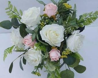 boho bouquet white rose bouquet garden style bouquet greenery bouquet silk wedding
