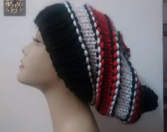 Super Slouchy Hat - Beanie - Black, White and Red - 100% Acyrlic