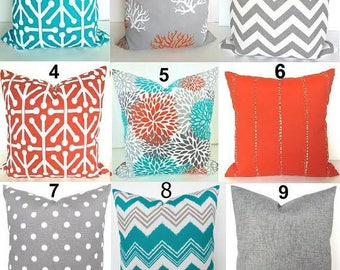 Nice SALE Outdoor Pillows Orange Pillows Orange Outdoor Throw Pillow Covers Teal  Pillows Grey Pillow Covers Turquoise