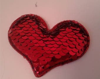 Red/Silver Reversible Sequin Heart - Valentine's Day - Sweetest Day - Padded Appliques-Hair bows - Headbands -Hair Clips- Hair bow cent