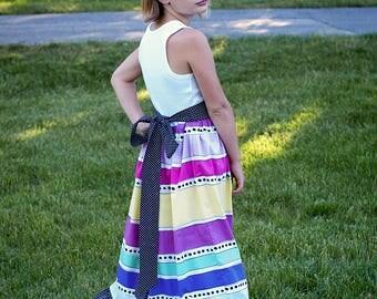 Little Girls Rainbow Maxi Dress Toddler Maxi Dress EASTER dress Maxi Dress Flower Girl Dress, Size 2T, 3T, 4T, 5,  6, 6X, 7, 8, 10 12