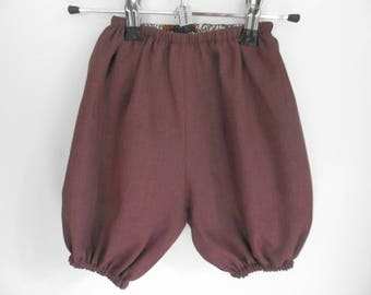 Burgundy, reversible plain cotton wax, 12/24 months bloomers