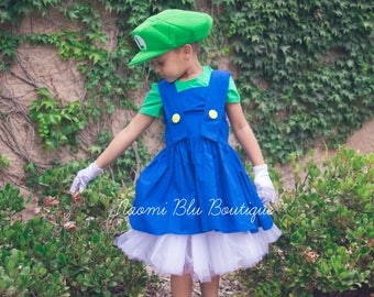 Super Mario Brother Luigi Inspired Tutu Dress Costume. Great for a Halloween costume, Themed Party, Dance Recital
