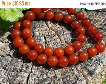 "SAVE 20% 1- 16"" Strand of Beautiful Genuine Orange, Rust, Paprika Carnelian Smooth 10mm Round Beads (apprx 39 beads)"