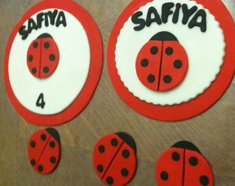 Ladybug Fondant cake  and cupcake topper set