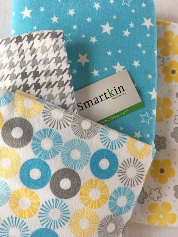 Blue, Grey and Yellow Swirls All Cotton Unpaper Towels and or Napkins Set of 4 12x15 in Size by Smartkin