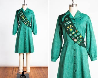 ORIGINAL Late 1940s Girl Scout Uniform with Original Sash & Pins // Designed by MAINBOCHER // Sanforized Cotton // Upper Merion, PA