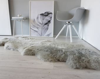 Genuine Double Natural Sheepskin Rug - Extremely soft wool - Dyed Grey | Silver | Ash | Tan Mix  - DN 37