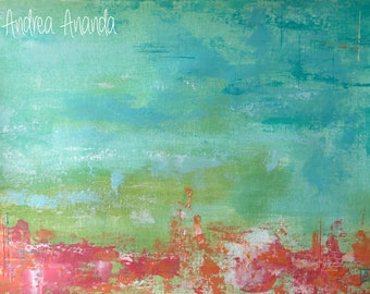 Original Fine Art Abstract Landscape Acrylic Painting Wall Art on Paper 9 x 12 inches aqua pink blush