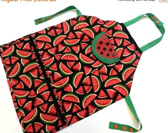 SUMMER SALE EVENT Girl's apron Ready to ship Girls Watermelon aprons,pretend play,girls apron,little chef's bake off birthday gift for girl