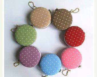 SALE 20% 6.2cm Macaron Coin Purse / Mini Jewelry Box - Polka Dots
