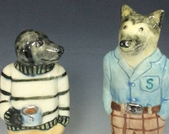 Dogs salt & pepper set, signed, numbered limited editions of 200