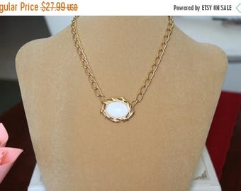 ON SALE Monet Gold Plated Chain with Decorative Center and Milk like Cabochon, Monet Collector, Christmas gift, Birthday gift, Mother's Day