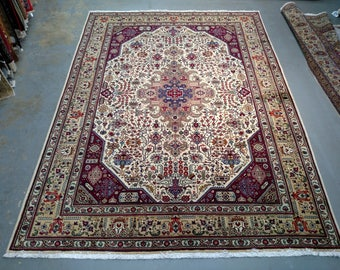 1990s Room-Sized Hand-Knotted Tabriz Persian Rug (3695)