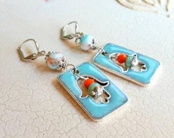 Fatima Hand Earrings, Resin Earrings, Blue Earrings, Dangle Earrings, Beaded Earrings, Bohemian Jewelry