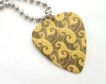 Paisley Design Guitar Pick Necklace with Stainless Steel Ball Chain