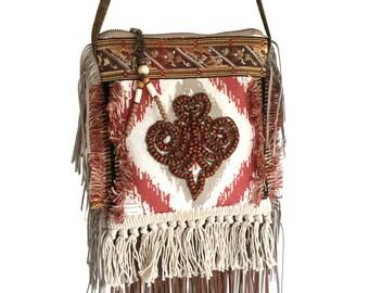 Small purse Navajo style, mini crossbody fringed, festival purse ornament, fabric bag handmade, unique gift for woman, OOAK bags