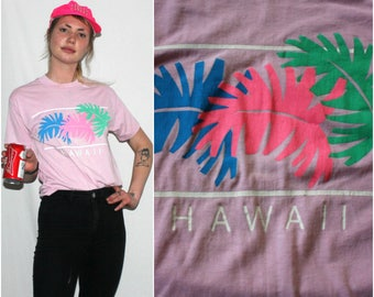 Vintage 80s Hawaii Pink T Shirt. Retro Paper Thin Soft And Small Souvenir T Shirt. Hipster Rocker T Shirt.Tropical Hawaii Retro Surfer Shirt