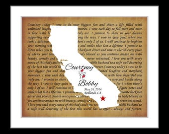 Custom wedding gift, wedding anniversary gifts ANY state, wedding gift for bride and groom, song lyrics print personalized gift map art smez