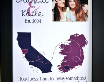 Custom Birthday Gift Best Friend Long Distance: Personalized Map Gift For Sister Bestfriend Cousin Bff Christmas Present Gifts Goodbye Gift
