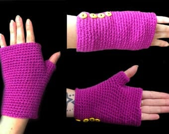 Fuchsia T.U crochet fingerless gloves and colorful buttons