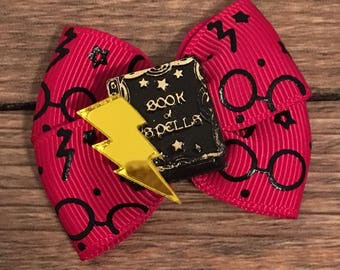 Harry Potter Dog or Infant Hair Bow-Harry Potter Hair Bow-Harry Potter Baby Bow-Small Harry Potter Hair Bow-Harry Potter Dog Bow-Wizard Bow
