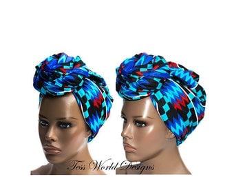 Blue Kente Print head wraps /Turban head wrap/African Head wraps/  African hair accessory/ African Fabric/ African Head scarf/ HT178