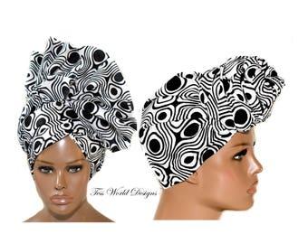 Black and white Head Wrap/ Gift Ideas/ Ghana fabric head wrap/ cotton fabric headwrap/ African Head wraps/ Turban wrap HT232