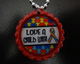 Autism: Love a Child with Autism Red BOTTLE Cap jewelry Necklace * Free Chain