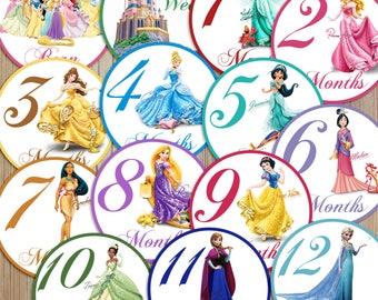 14 Princess Cinderella Snow White Rapunzel Pocahontis Anna Elsa Frozen Belle Tiana Jasmine Aurora Baby Newborn Monthly Milestone Stickers