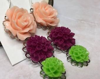 Peach Purple and Green Flower Dangle Earrings