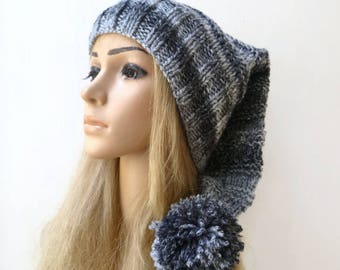 Pixie Elf Pom Pom Hat - Hand Knit Hat - Women Stocking Hat - Black Grey Elvin Hat - Long Tailed Stocking Slouch Hat - Clickclackknits
