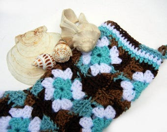 """Granny Square Stocking Christmas Stocking - Unique - Hand Crocheted in Turquoise Teal White and Chocolate Brown (""""The Sandlapper"""")"""