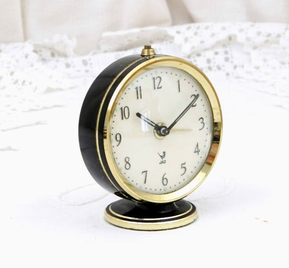 Working Mid Century Vintage Small French Jaz Mechanical Wind Up Black and Gold Colored Metal Alarm Clock, Retro 1960s Bed Side Timepiece