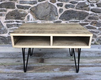 Reclaimed wood table - coffee table - reclaimed barnwood - console table - tv table - industrial table - hairpin legs