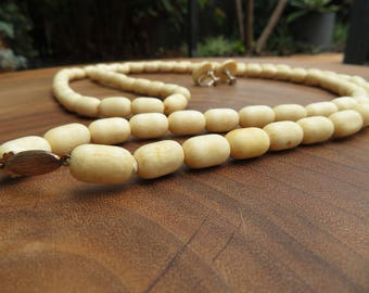 Oval/ Barrel Bone Beaded Necklace