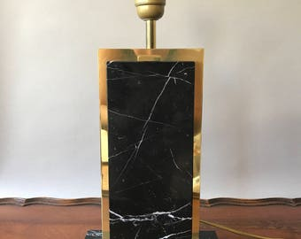 Sale. Free shipping. Amazing design black cararra marble table lamp, hollywood regency